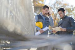 Workers on project site stock images