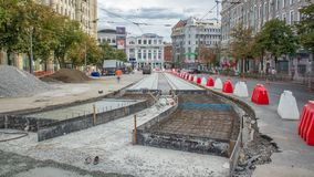 Workers with protective mask welding reinforcement for tram tracks in the city timelapse. Workers with protective mask welding reinforcement for tram tracks in stock video footage
