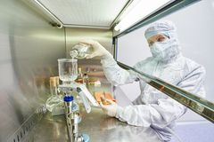 Workers in protective uniform at laboratory royalty free stock images