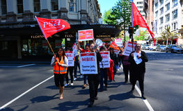 Workers protesting for Equal pay for equal work in Auckland New Royalty Free Stock Image