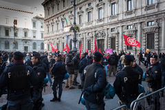 Workers protesting in front of La Scala opera house in Milan, Italy Royalty Free Stock Images