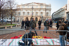 Workers protesting in front of La Scala opera house in Milan, Italy Royalty Free Stock Photography