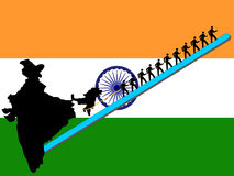 Workers pulling India. Upwards with Indian flag Royalty Free Stock Images