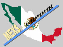 Workers pulling Peso sign. Workers pulling giant Peso sign with Mexican map and flag Royalty Free Stock Image