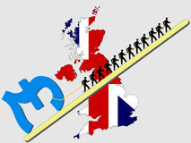 Workers pulling Pound sign. Workers pulling giant Pound sign with British map and flag Royalty Free Stock Images