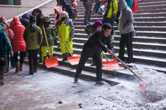 Workers remove snow Royalty Free Stock Photography