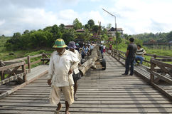 Workers repair the bridge. Stock Photos