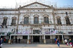 Workers repair Civic And Municipal Affairs Bureaumore in Macau Stock Photography