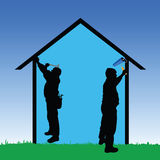 Workers repair the house vector illustration Stock Photos