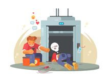 Workers repairing broken lift Royalty Free Stock Images