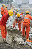 Workers are repairing road Stock Images
