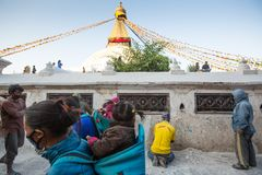 Workers repairing of Stupa Boudhanath,  in Kathmandu, Nepal. Stock Images
