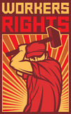 Workers rights poster. Worker holding a hammer, workers rights design, construction worker, poster for labor day, male worker with hammer Stock Photo