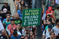 Workers of Rio de Janeiro protesting against Governor Royalty Free Stock Image