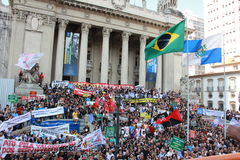 Workers of Rio de Janeiro protesting against Governor Stock Images