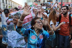 Workers of Rio de Janeiro protesting against Governor Stock Photos