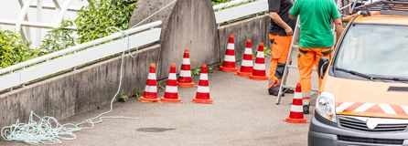 Workers on a road construction stock photography