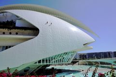 Workers on the Palau de les Arts Reina Sofia City of Arts and Sciences, Valencia Spain Royalty Free Stock Photos