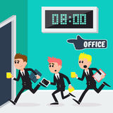 Workers Running to Office. Businessmen Going to Work. Vector illustration Stock Image