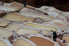 Workers in salt evaporation ponds. Maras. Sacred Valley. Cusco region. Peru Stock Photos