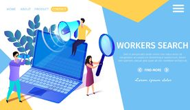 Workers Search Horizontal Banner. Headhunting. stock illustration