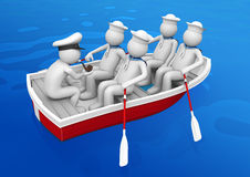 Workers - Ship squad in lifeboat Stock Image