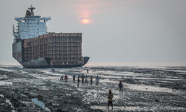 Workers of Shipbreaking yard royalty free stock photo