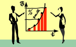 Workers showing growth chart royalty free illustration
