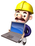 A Workers Shows Laptop Royalty Free Stock Photos