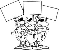 Workers with signs cartoon Vector Clipart Royalty Free Stock Image