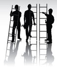 Workers silhouettes. Isolated workers silhouettes with tools and ladders Royalty Free Stock Image
