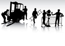 Workers silhouettes. Isolated workers silhouettes with different tools Stock Photography