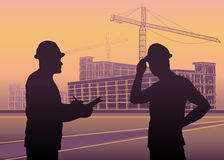 Workers silhouettes, construction Industry Stock Photo