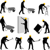 Workers silhouettes Stock Image