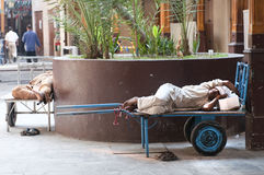Workers sleep on a cart Royalty Free Stock Photography