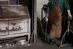 Workers at the smelter Stock Photography