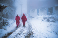 The Workers in Snowing royalty free stock images