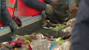 Workers sort garbage. Processing plant debris stock footage