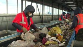 Workers sort garbage. Processing plant debris stock video footage