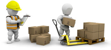 Workers stacking boxes Royalty Free Stock Photos