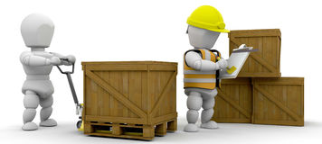 Workers stacking crates Stock Images