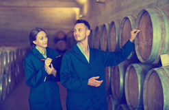 Workers standing with clipboard and labeling woods in cellar. Portrait of  positive men and women winery workers standing with clipboard and labeling woods in Stock Photography