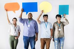 Workers standing and holding message boxes Stock Photography