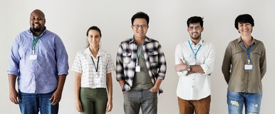 Workers standing together diversity isolated Stock Photo