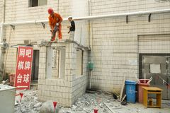 Demolition works in Shanghai, China Royalty Free Stock Image