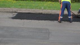 Workers street repair stock video