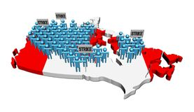 Workers on strike on Canada map flag Royalty Free Stock Image