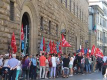 Workers strike in Florence.Photo taken August 3, 2016 in Florence, Italy royalty free stock photo