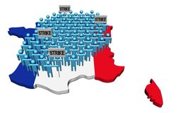 Workers on strike on France map flag Stock Photography