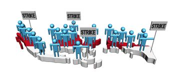 Workers on strike on Indonesia map flag Stock Images